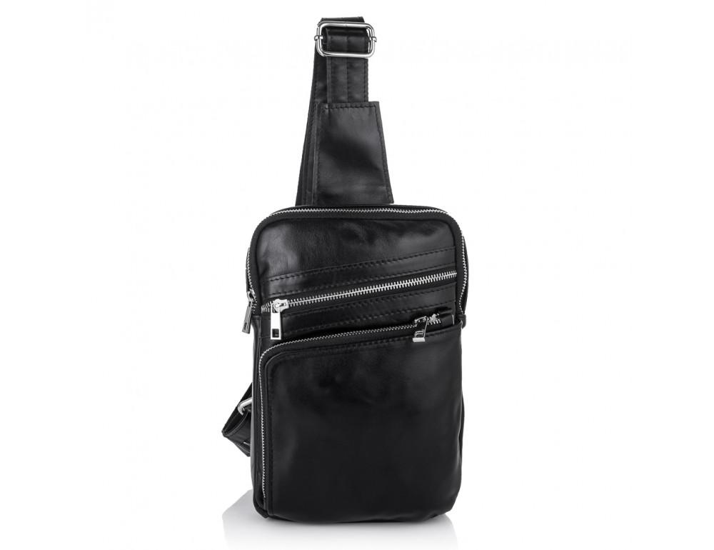 Чёрная кожаная сумка-рюкзак через плечо Newery N6896GA - Фото № 6