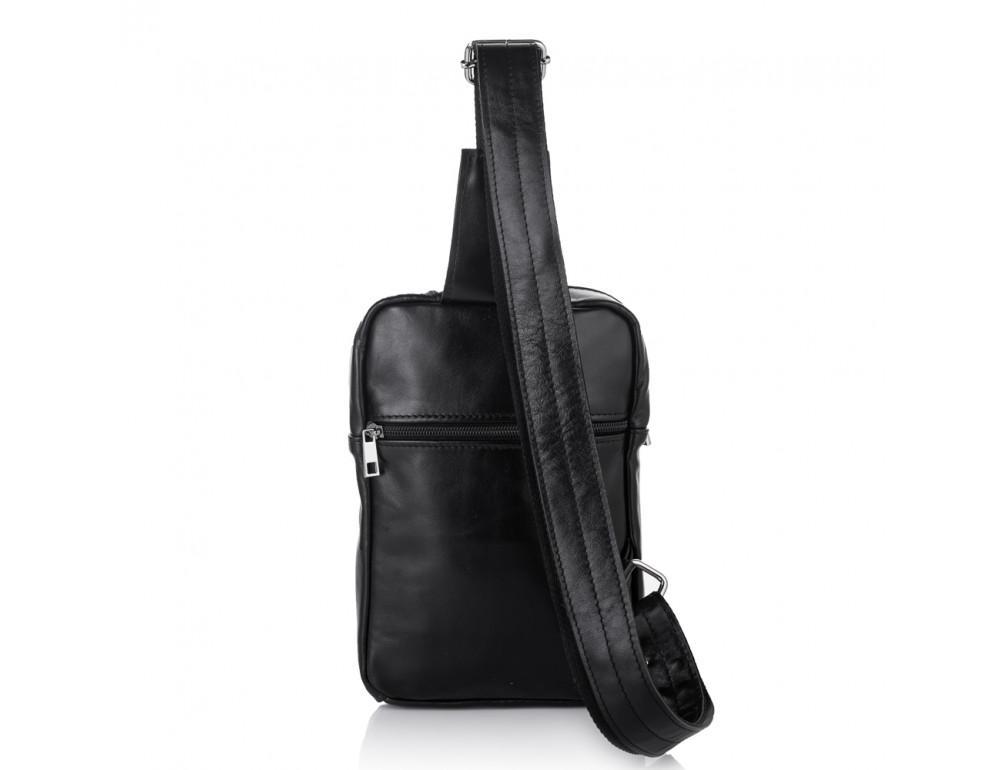 Чёрная кожаная сумка-рюкзак через плечо Newery N6896GA - Фото № 2