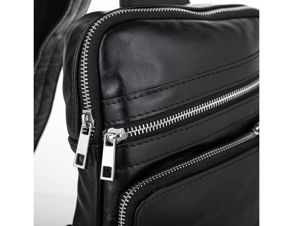 Чёрная кожаная сумка-рюкзак через плечо Newery N6896GA - Фото № 3