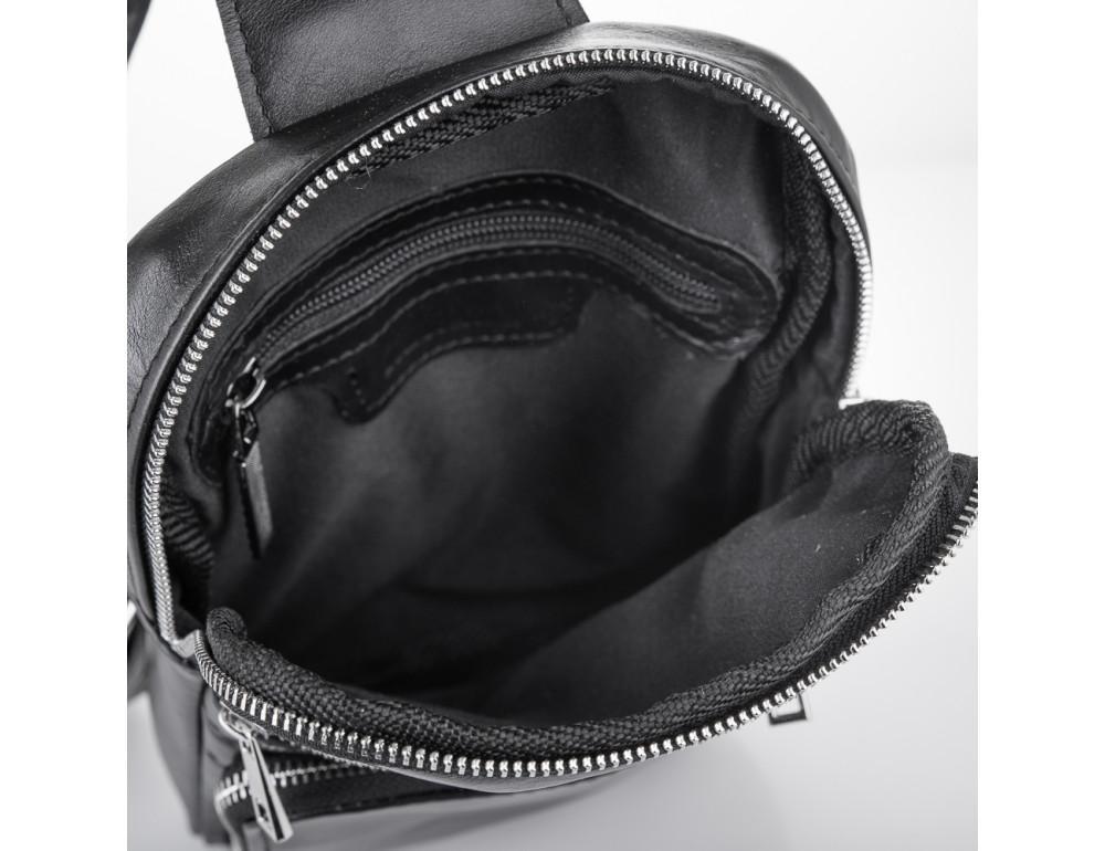 Чёрная кожаная сумка-рюкзак через плечо Newery N6896GA - Фото № 4