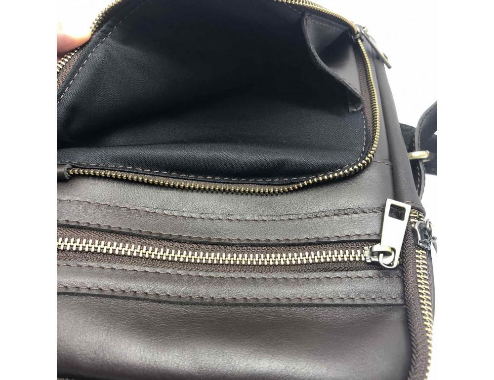 Коричневая кожаная сумка через плечо Newery N6896GC - Фото № 7