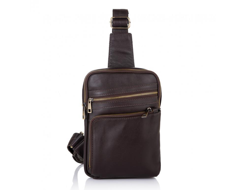 Коричневая кожаная сумка через плечо Newery N6896GC - Фото № 3