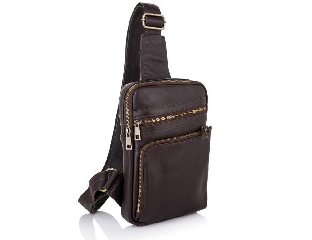 Коричневая кожаная сумка через плечо Newery N6896GC