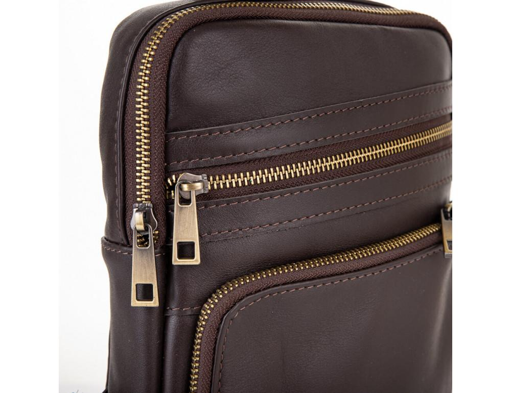 Коричневая кожаная сумка через плечо Newery N6896GC - Фото № 5