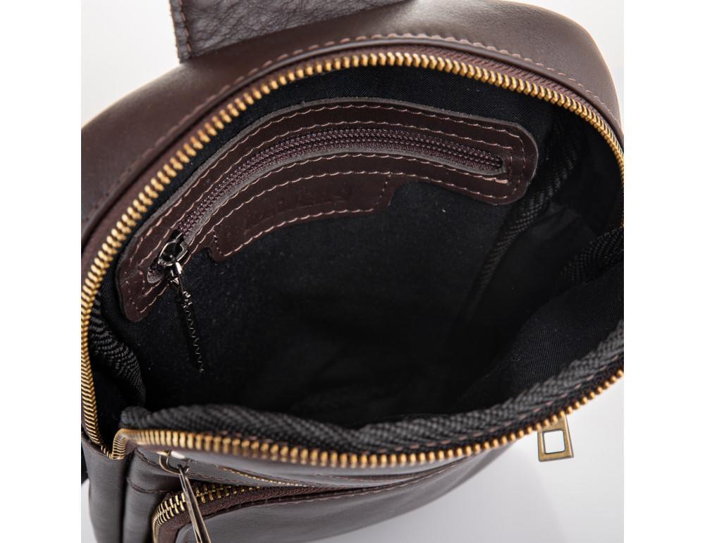Коричневая кожаная сумка через плечо Newery N6896GC - Фото № 6