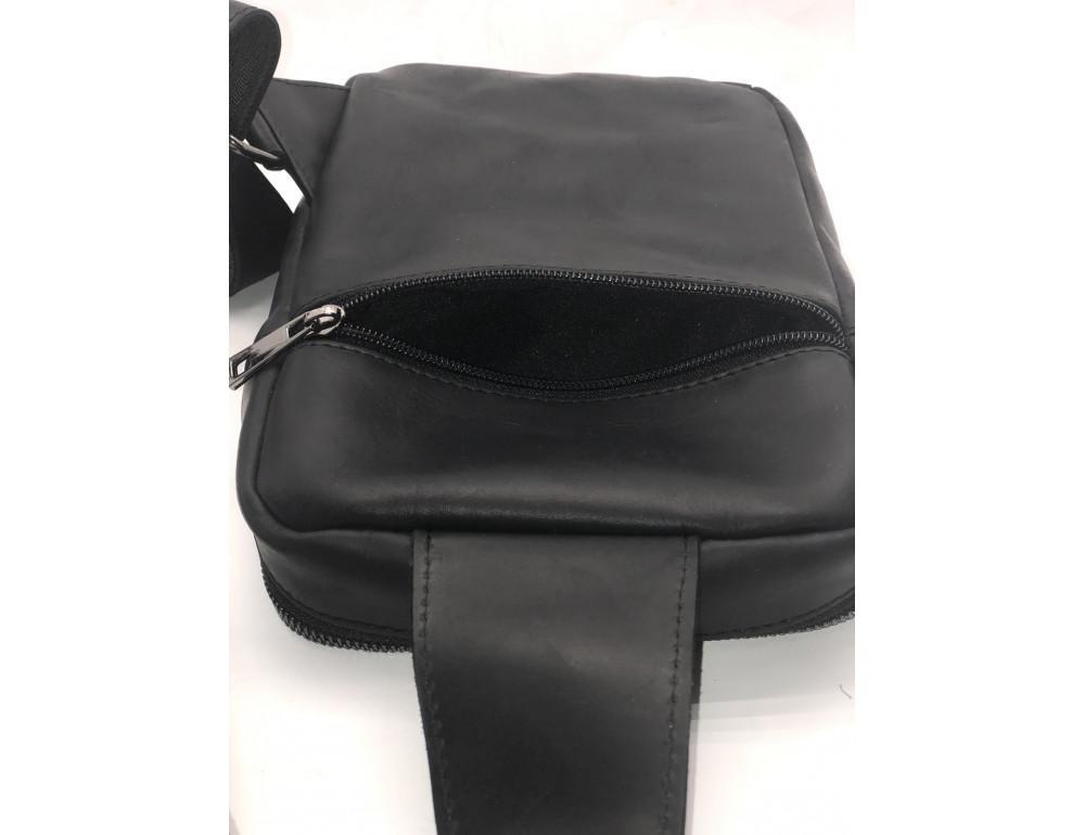 Чёрная кожаная сумка-рюкзак NEWERY N6896KA - Фото № 7