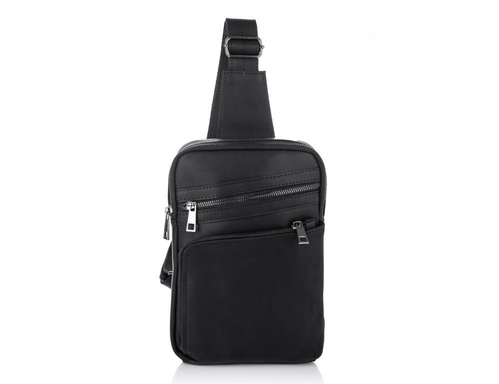 Чёрная кожаная сумка-рюкзак NEWERY N6896KA - Фото № 3