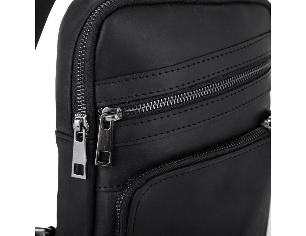 Чёрная кожаная сумка-рюкзак NEWERY N6896KA - Фото № 5