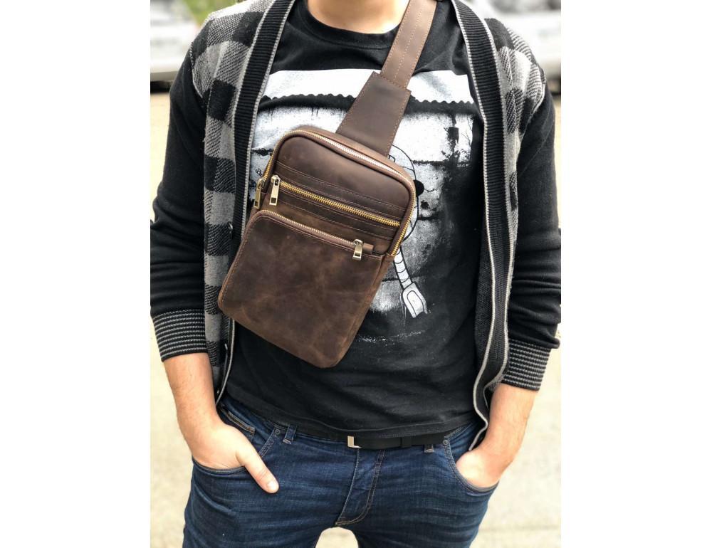 Коричневая сумка через плечо Newery N6896KC - Фото № 2