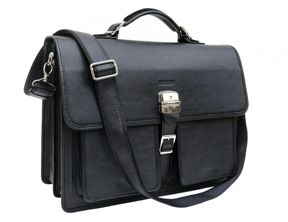 Чорний солідний шкіряний портфель Newery N7164GA - Фотографія № 10