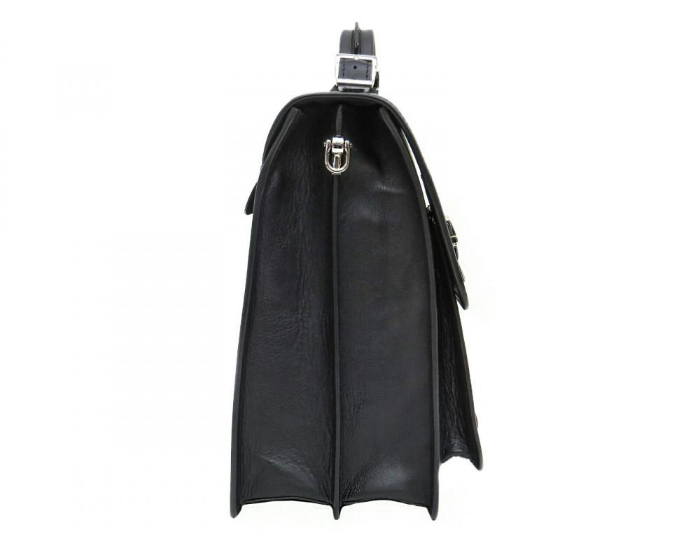 Чорний солідний шкіряний портфель Newery N7164GA - Фотографія № 3