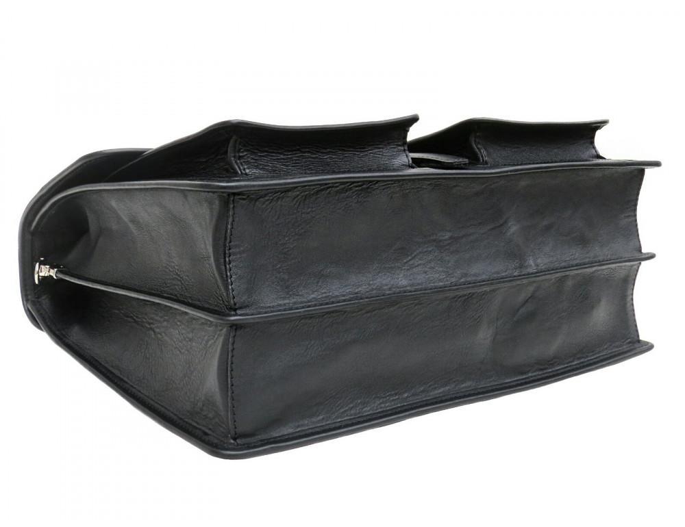 Чорний солідний шкіряний портфель Newery N7164GA - Фотографія № 4