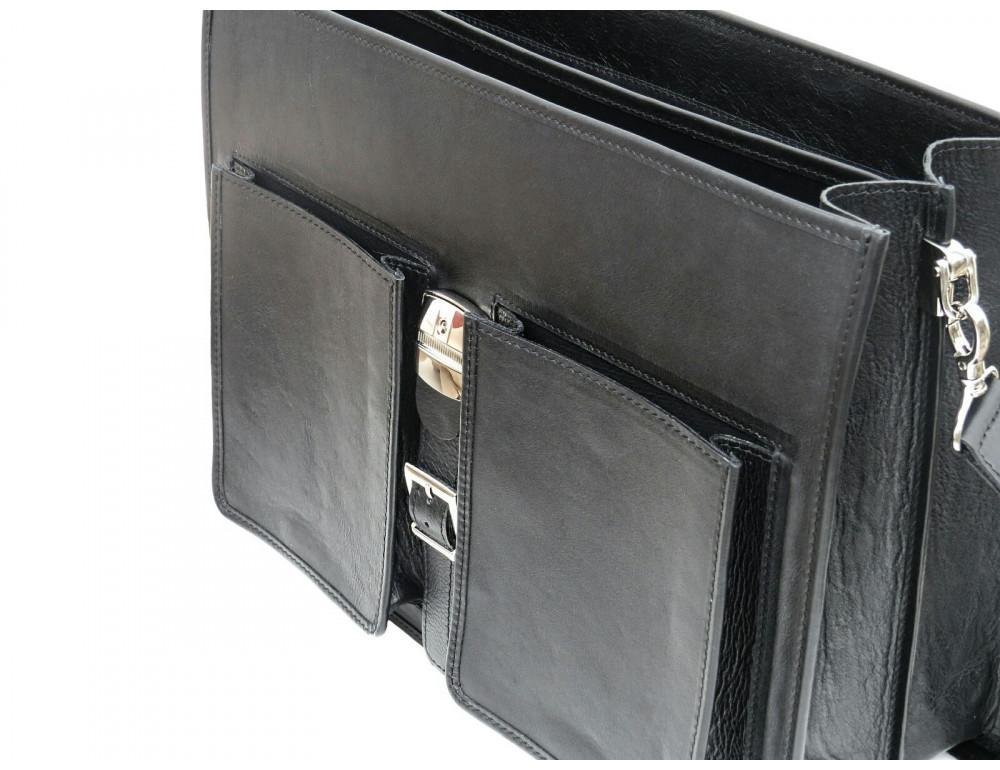 Чорний солідний шкіряний портфель Newery N7164GA - Фотографія № 6