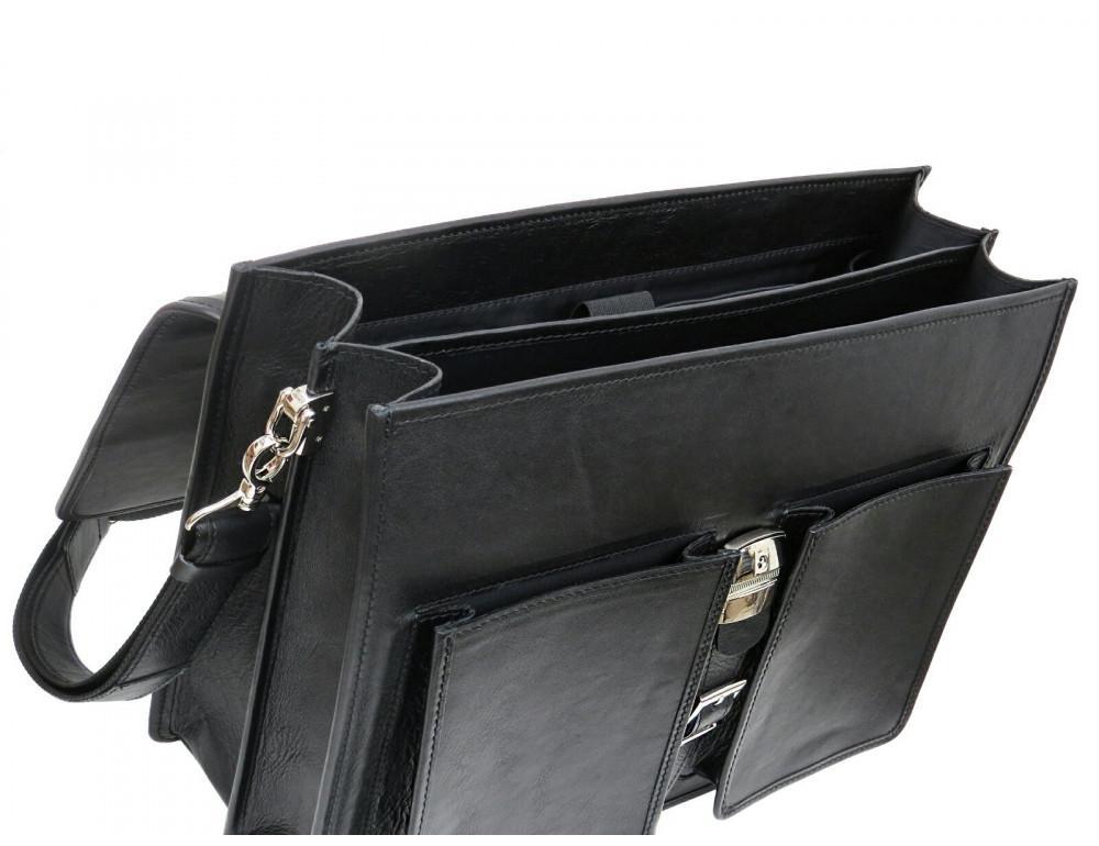 Чорний солідний шкіряний портфель Newery N7164GA - Фотографія № 7