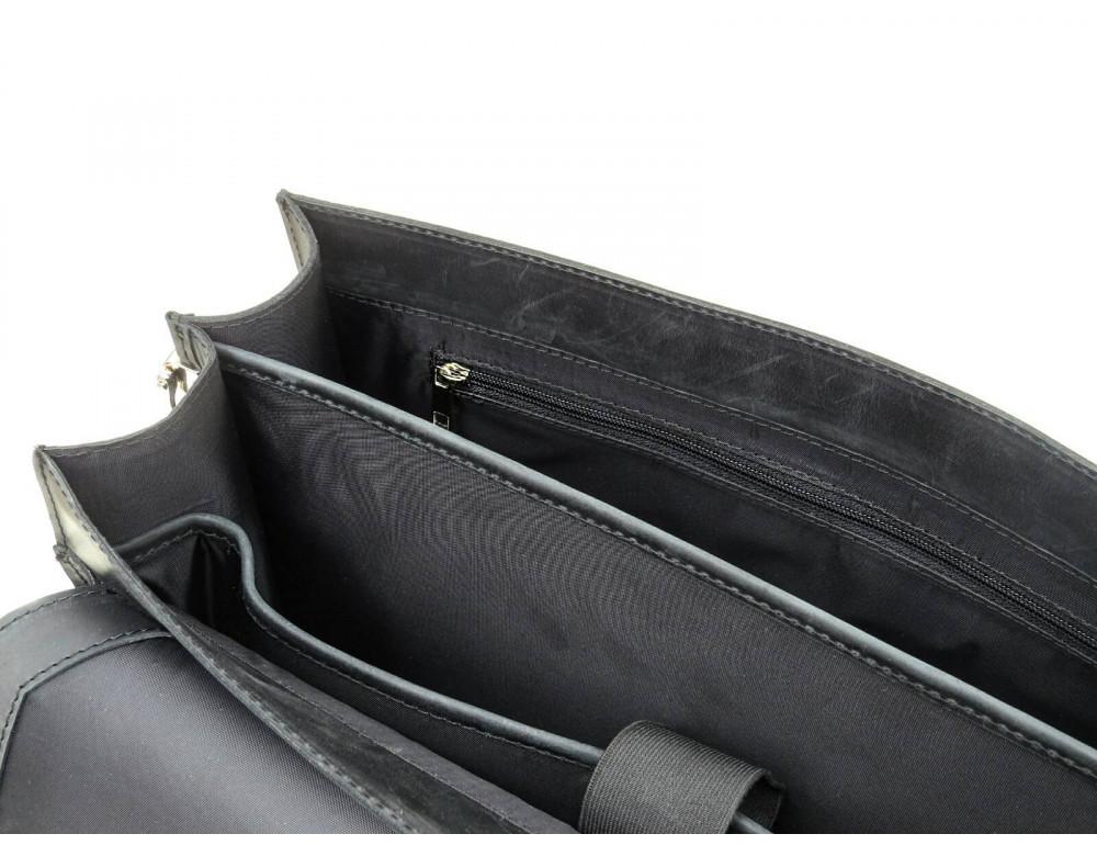 Чорний солідний шкіряний портфель Newery N7164GA - Фотографія № 8