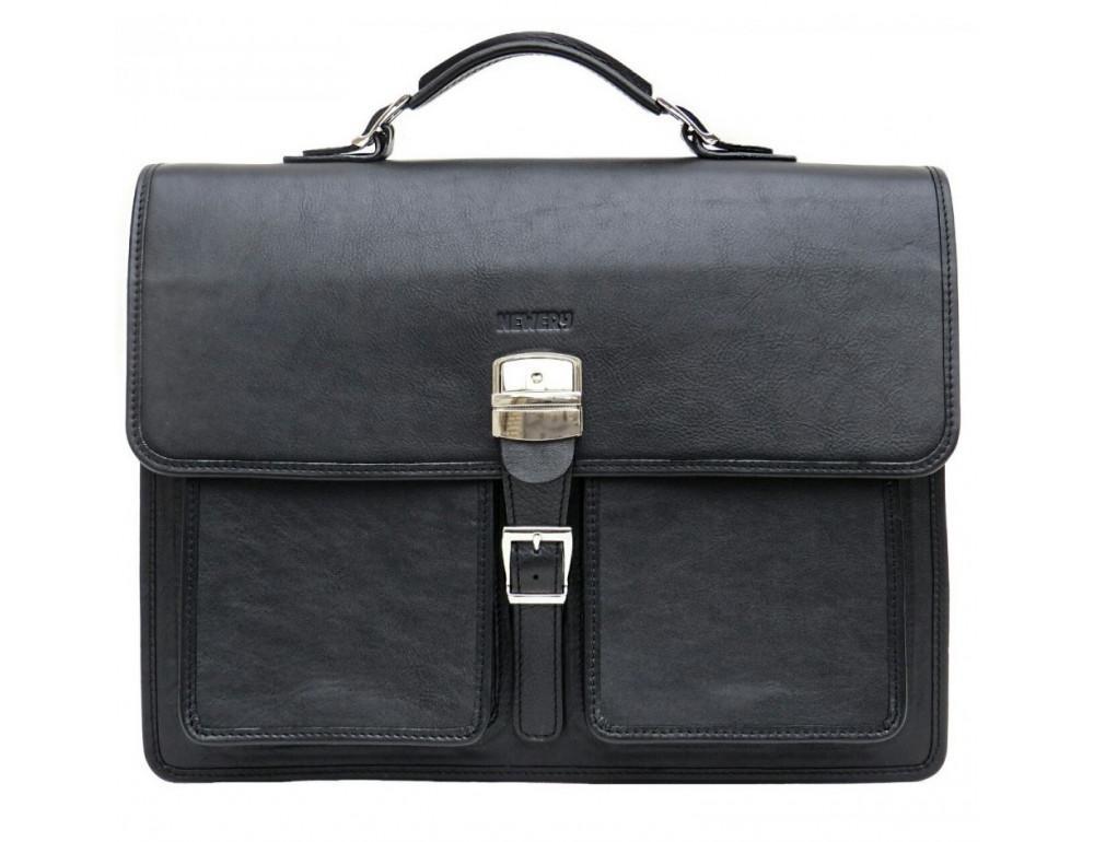 Чорний солідний шкіряний портфель Newery N7164GA - Фотографія № 1