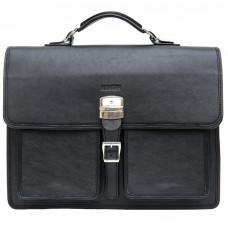 Чёрный солидный кожаный портфель Newery N7164GA