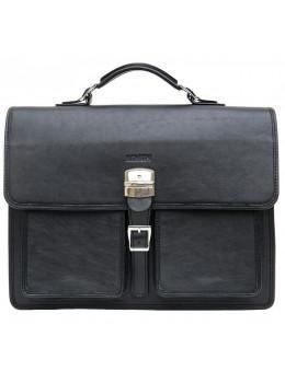 Чорний солідний шкіряний портфель Newery N7164GA