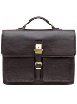 Коричневый мужской портфель из гладкой кожи Newery N7164GC