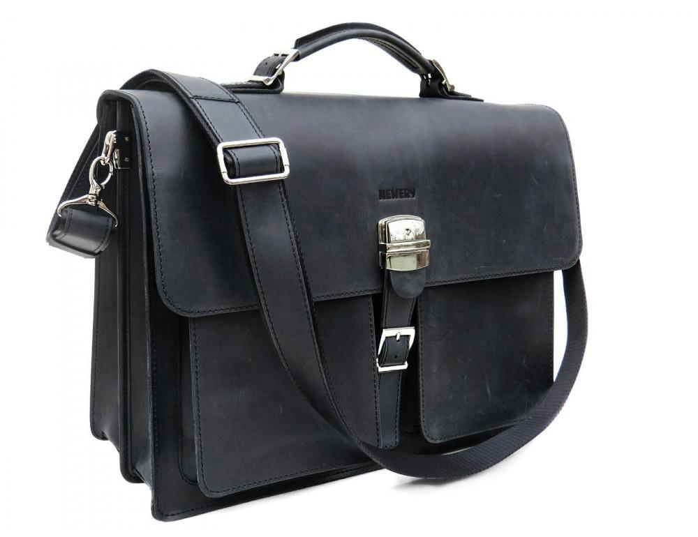 Большой мужской портфель из лошадиной кожи Newery N7164KA - Фото № 11
