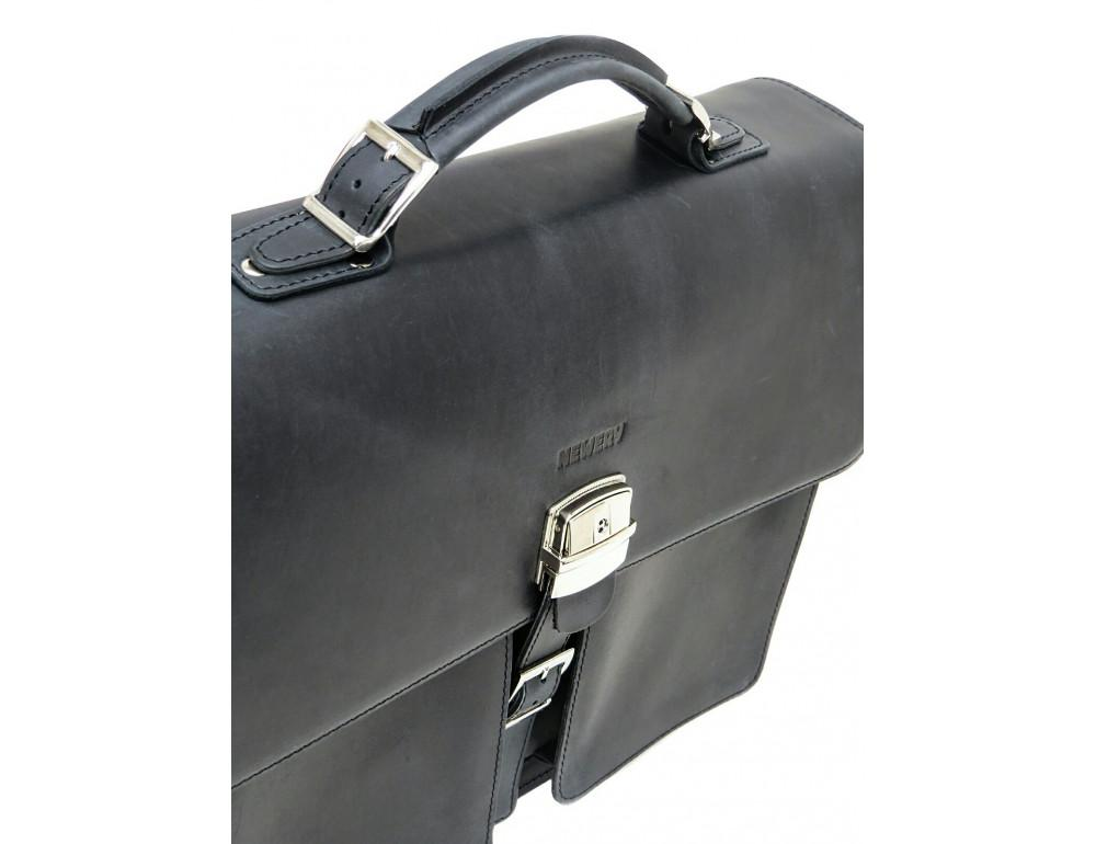 Большой мужской портфель из лошадиной кожи Newery N7164KA - Фото № 7