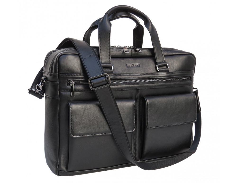 Мужская кожаная сумка на два отделения большого размера Newery N7526GA - Фото № 9