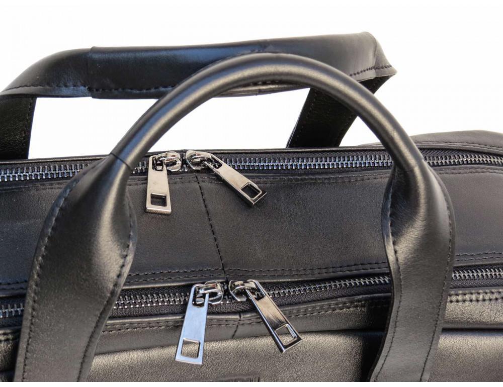 Мужская кожаная сумка на два отделения большого размера Newery N7526GA - Фото № 4