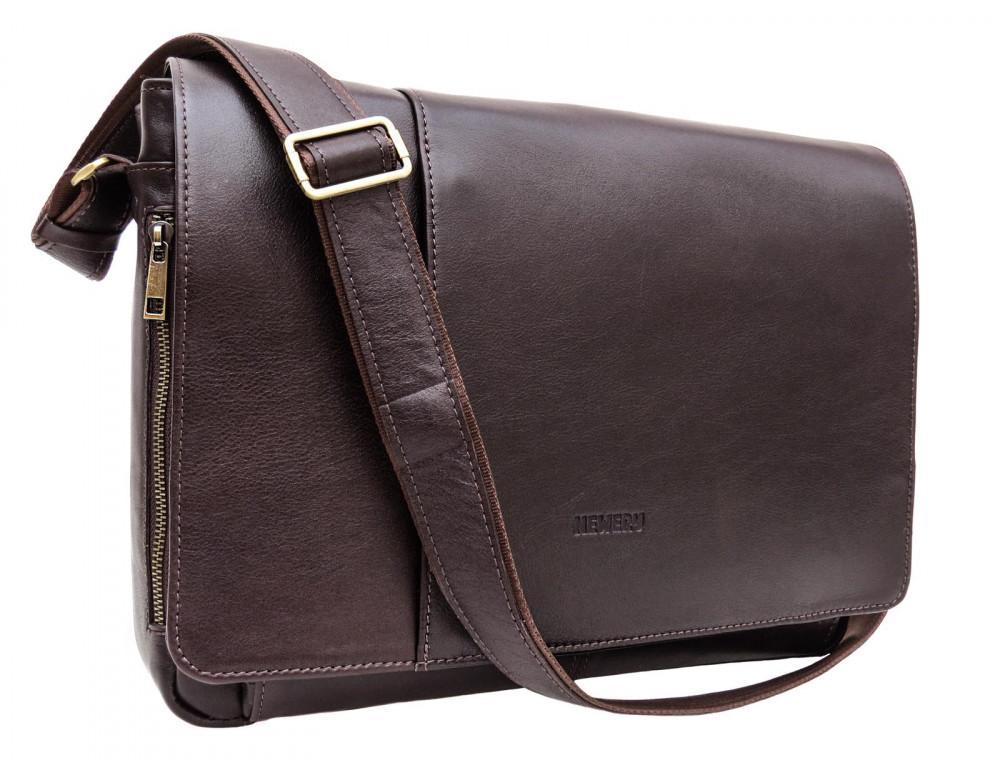 Коричневая кожаная сумка-мессенджер на 15.6 дюймов Newery N8128GC
