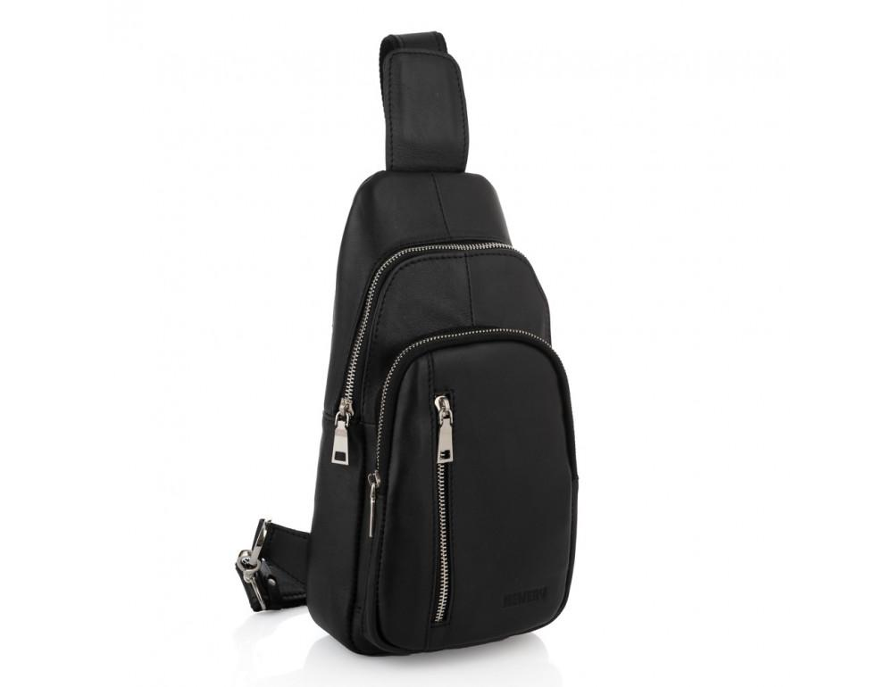 Чёрная сумка слинг из гладкой телячьей кожи Newery N9012GKA - Фото № 1