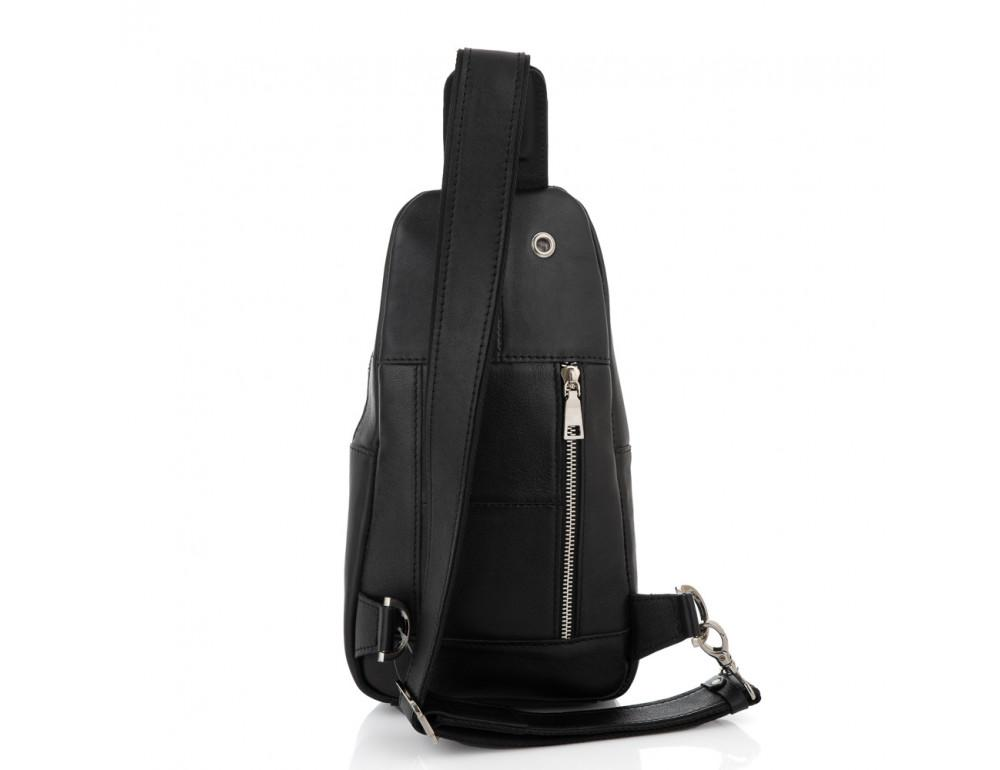 Чёрная сумка слинг из гладкой телячьей кожи Newery N9012GKA - Фото № 2