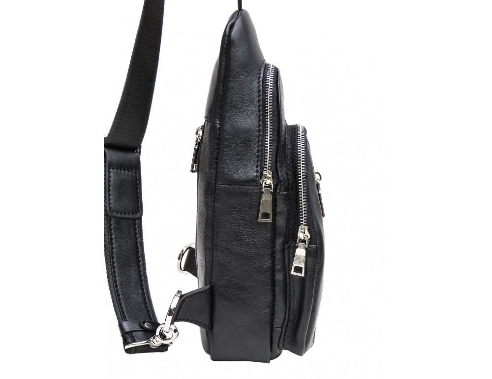 Чёрная сумка слинг из гладкой телячьей кожи Newery N9012GKA - Фото № 3