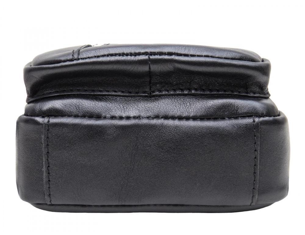 Чёрная сумка слинг из гладкой телячьей кожи Newery N9012GKA - Фото № 5