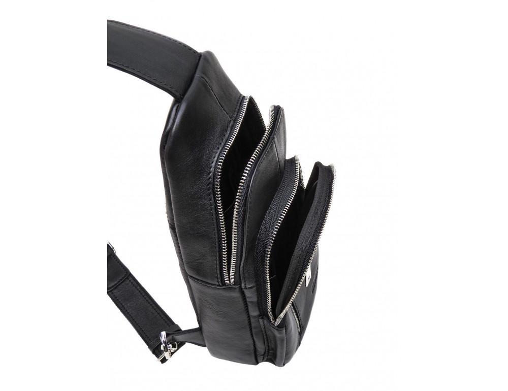 Чёрная сумка слинг из гладкой телячьей кожи Newery N9012GKA - Фото № 6