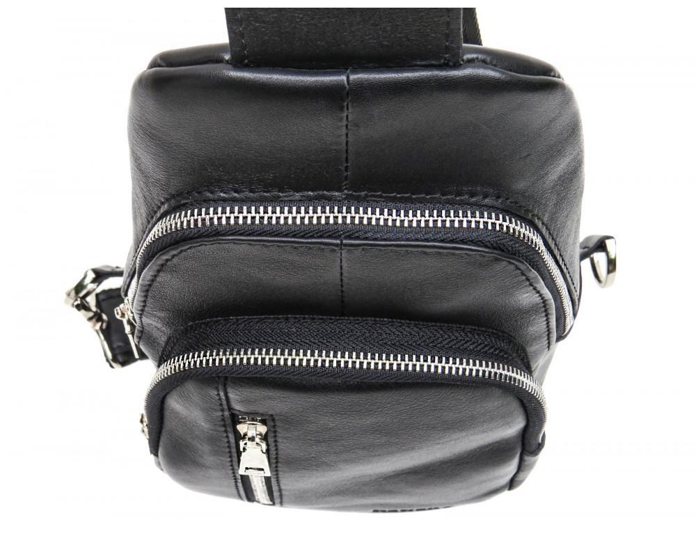 Чёрная сумка слинг из гладкой телячьей кожи Newery N9012GKA - Фото № 7
