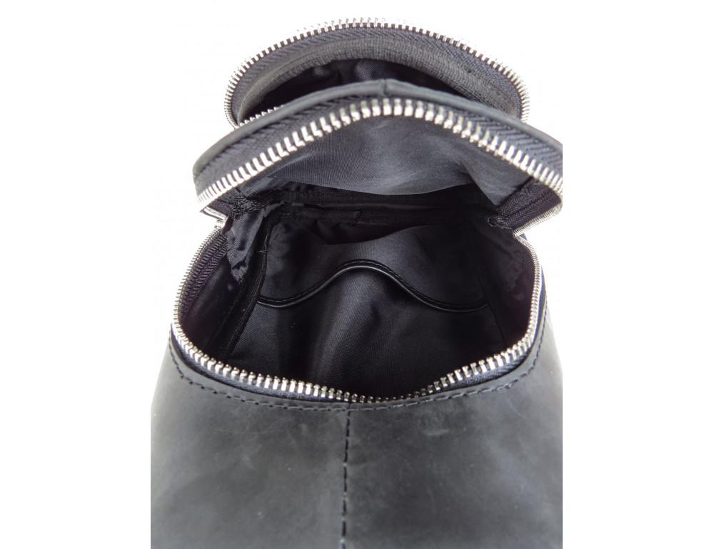 Чёрная сумка слинг из гладкой телячьей кожи Newery N9012GKA - Фото № 8