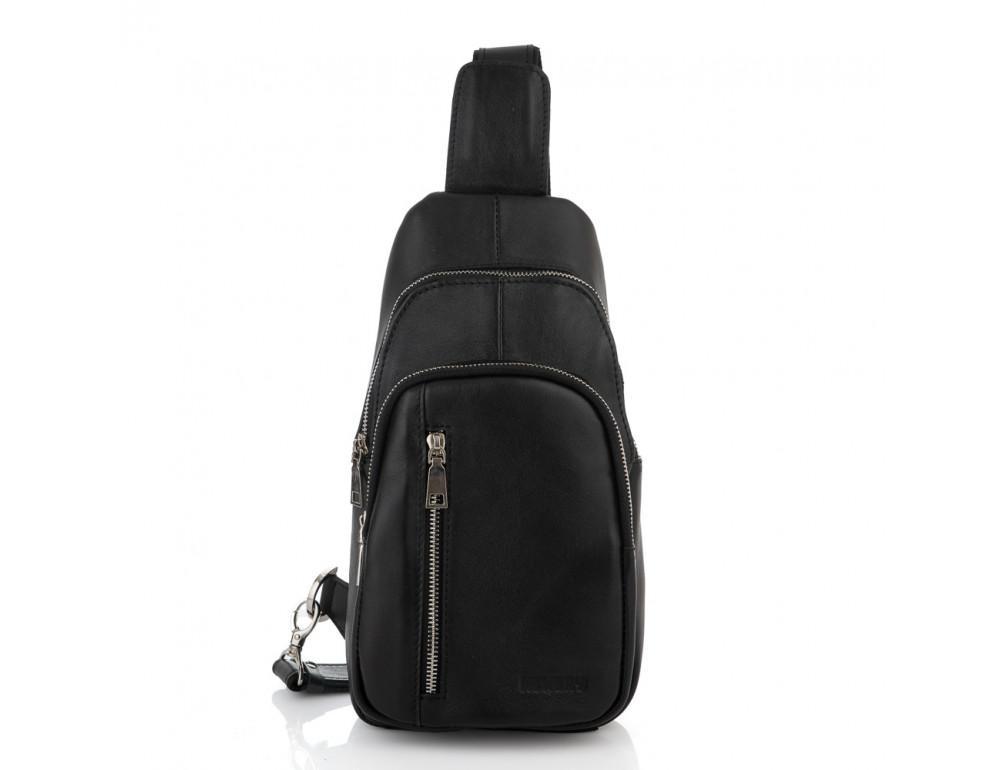 Чёрная сумка слинг из гладкой телячьей кожи Newery N9012GKA - Фото № 9
