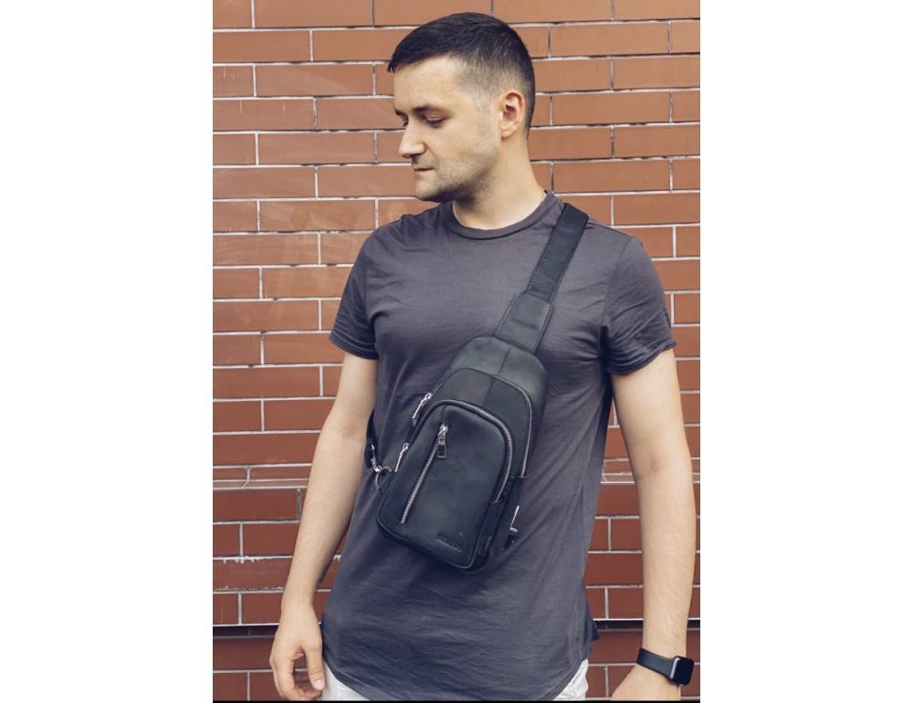 Чёрная сумка слинг из лошадиной кожи Newery N9012KGA - Фото № 2
