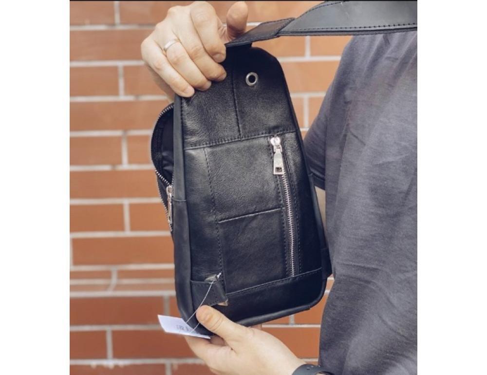 Чёрная сумка слинг из лошадиной кожи Newery N9012KGA - Фото № 3