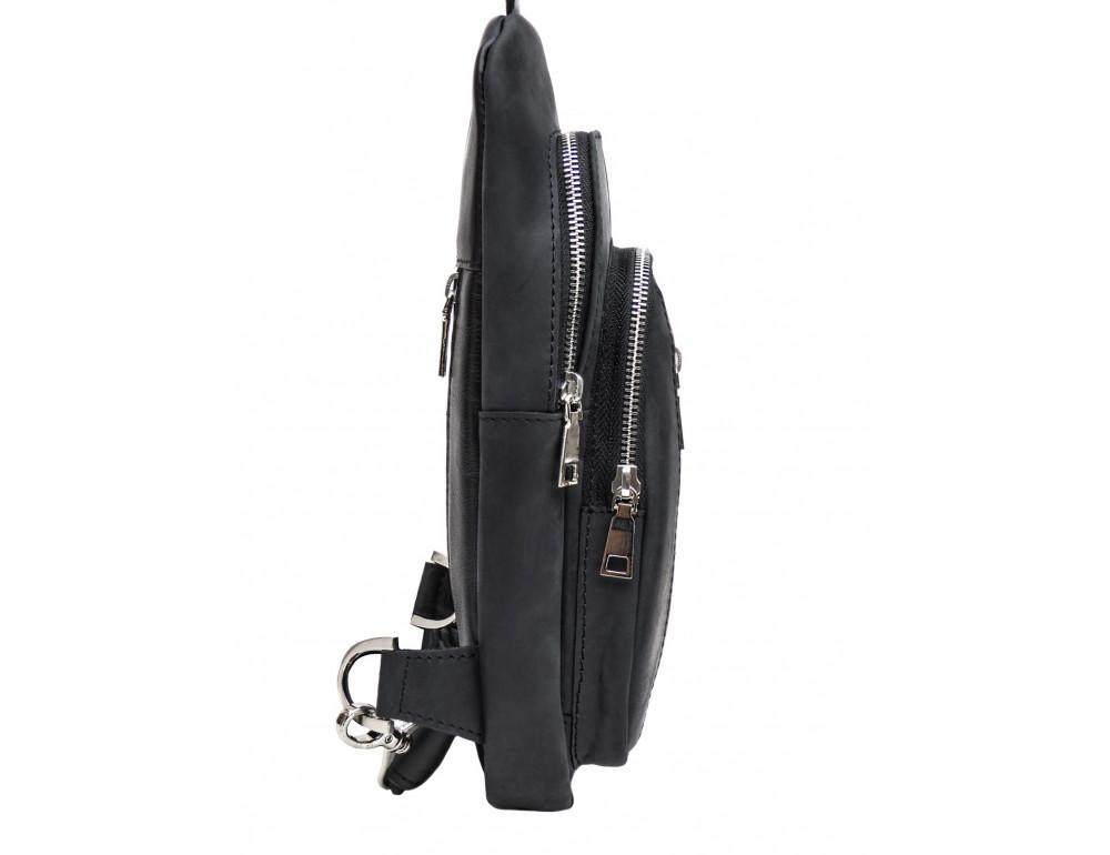 Чёрная сумка слинг из лошадиной кожи Newery N9012KGA - Фото № 5