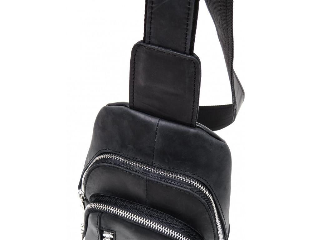Чёрная сумка слинг из лошадиной кожи Newery N9012KGA - Фото № 6