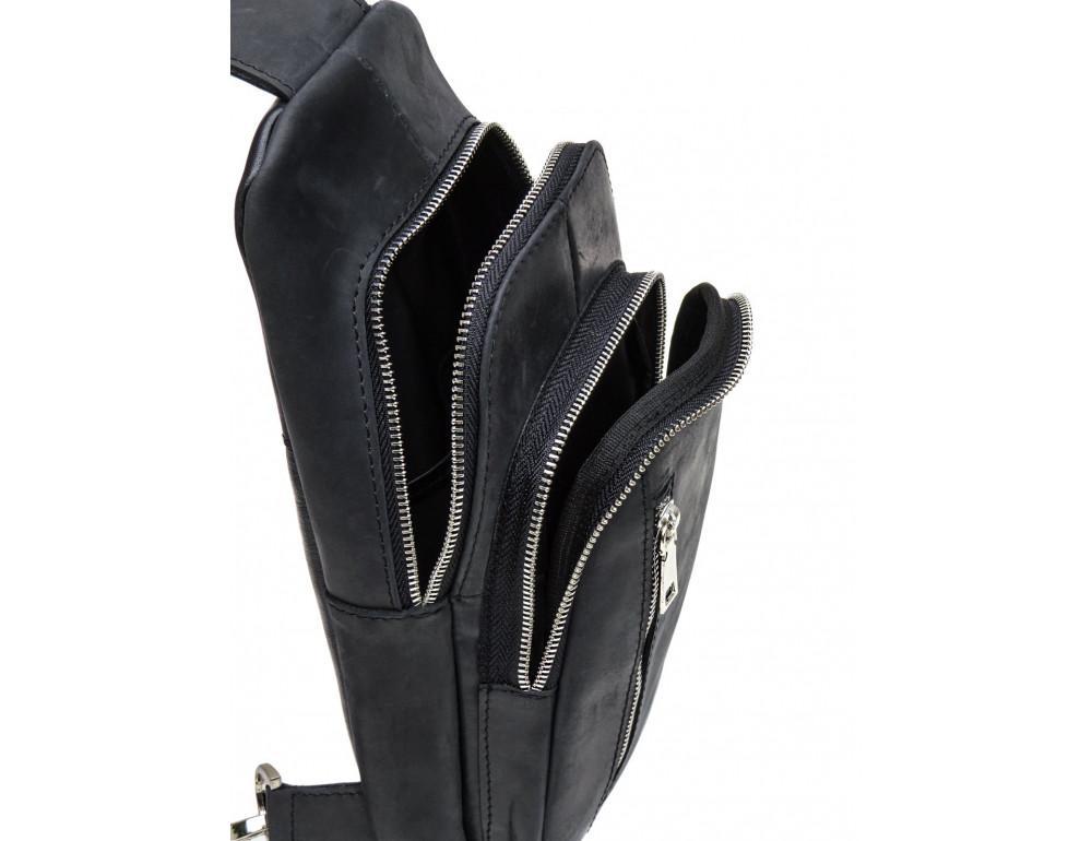 Чёрная сумка слинг из лошадиной кожи Newery N9012KGA - Фото № 7