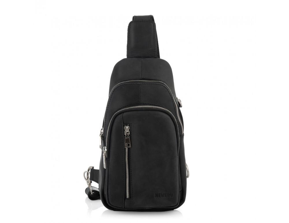 Чёрная сумка слинг из лошадиной кожи Newery N9012KGA - Фото № 9