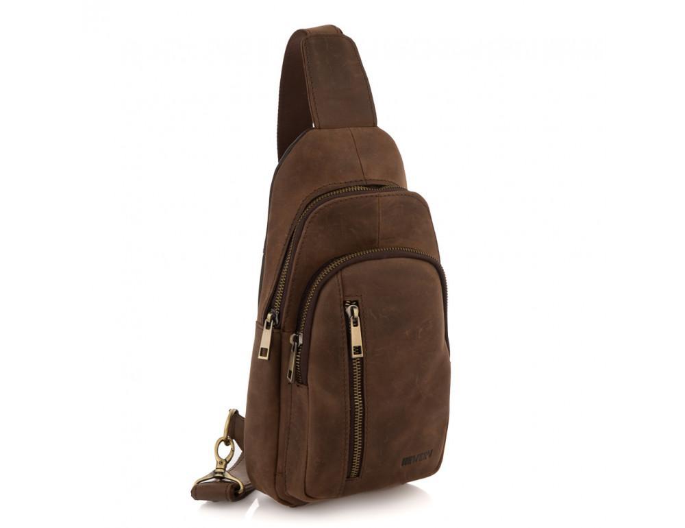 Коричневая сумка слинг из лошадиной кожи Newery N9012KGC - Фото № 1