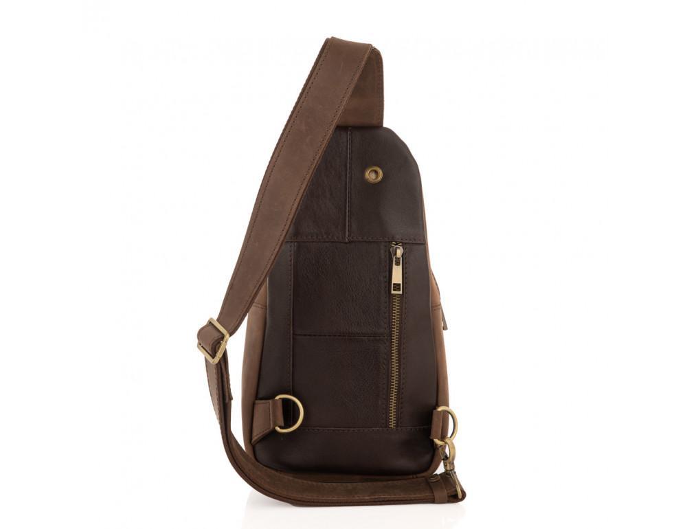 Коричневая сумка слинг из лошадиной кожи Newery N9012KGC - Фото № 2
