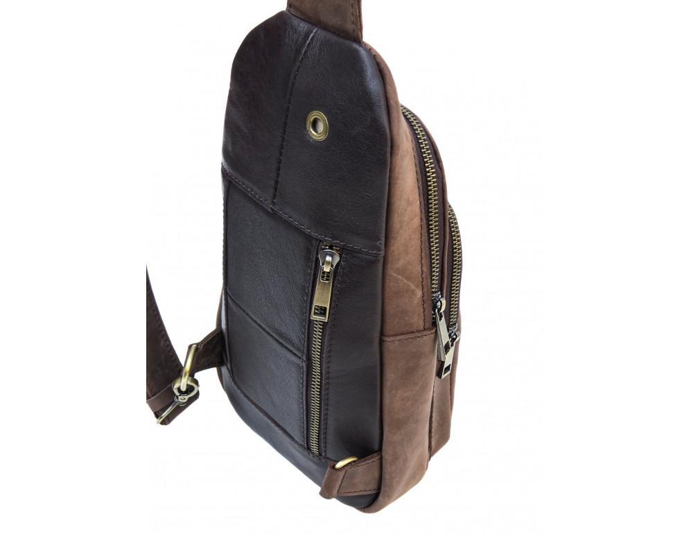 Коричневая сумка слинг из лошадиной кожи Newery N9012KGC - Фото № 3