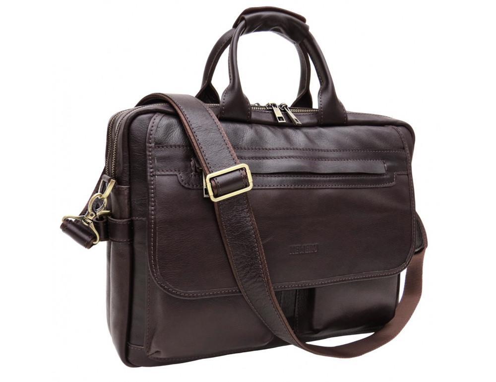 Молодёжный кожаный портфель коричневого цвета Newery N9523GC - Фото № 1