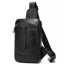Чёрная кожаная сумка-слинг Tiding Bag NCZ8037A