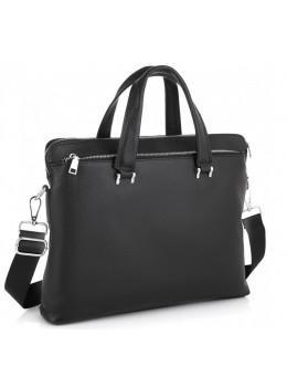 Чёрная кожаная сумка под ноутбук Tiding Bag NM23-2307A