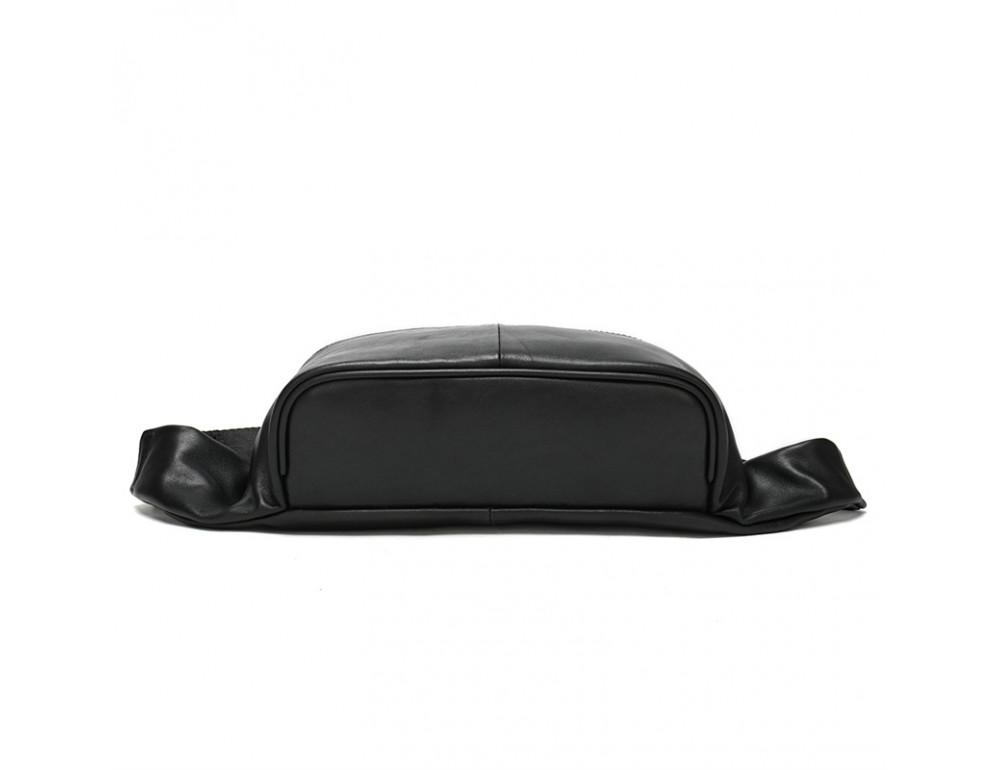 Чёрная кожаная сумка на пояс Tiding Bag NZC9066A - Фото № 2