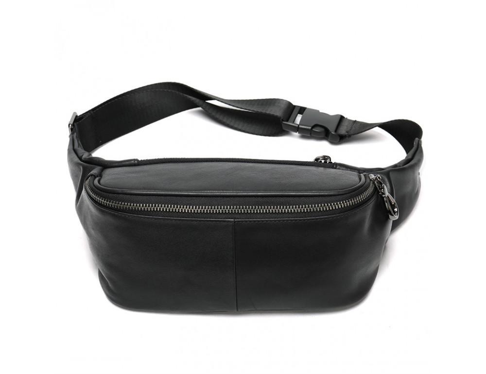Чёрная кожаная сумка на пояс Tiding Bag NZC9066A - Фото № 1